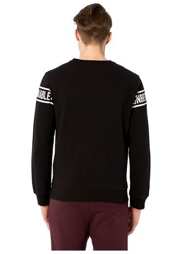 LC Waikiki Baskılı Sweatshirt Siyah